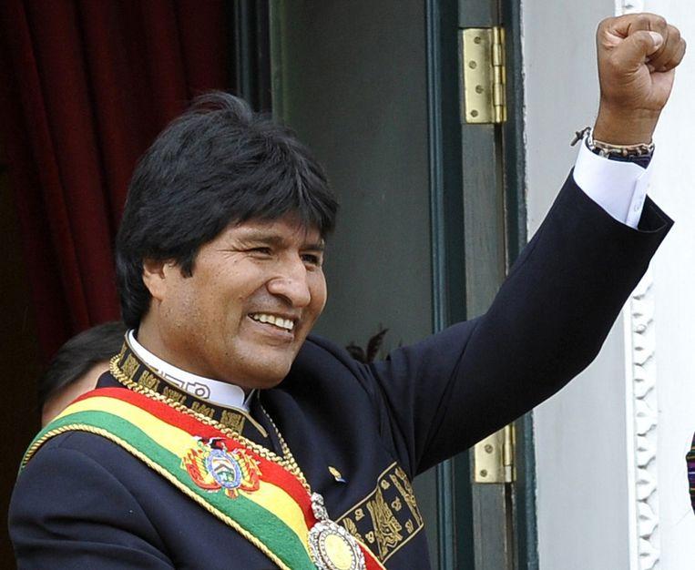 Evo Morales na zijn laatste verkiezingsoverwinning in 2010. Beeld afp