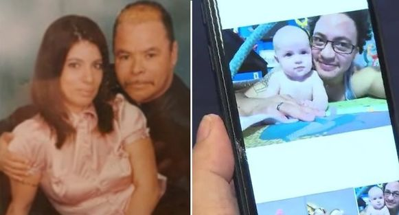Tina Bejarano met haar echtgenoot (links) en het kind dat nu is uitgegroeid tot een volwassene van 29 jaar met een eigen gezin (rechts).