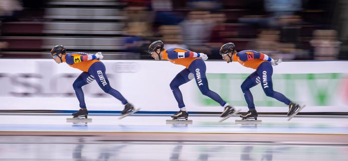 Sven Kramer, Douwe de Vries en Marcel Bosker.