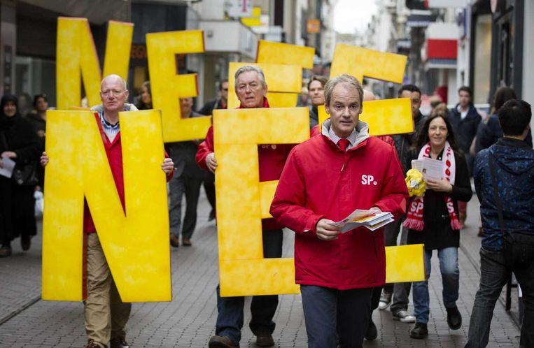 Harry van Bommel tijdens een SP-demonstratie in april dit jaar tegen het associatieverdrag tussen de EU en Oekraïne. Beeld anp