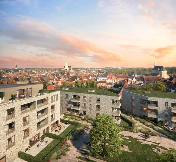 Een toekomstbeeld van de site Handbogenhof in de Kanunnik Davidlaan.