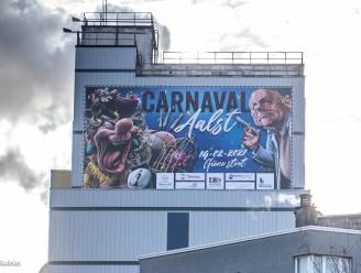 Carnavalsaffiche op Tereos-toren met Marc Van Ranst, corona en een Voil Janet in de hoofdrollen