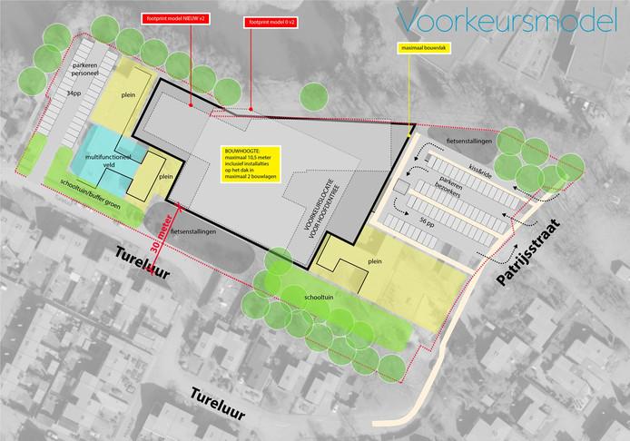 Voorkeursmodel van brede school Kindplein West. De bewoners van de Tureluur willen dat de nieuwbouw dichter bij de vijver aan de achterzijde verrijst.