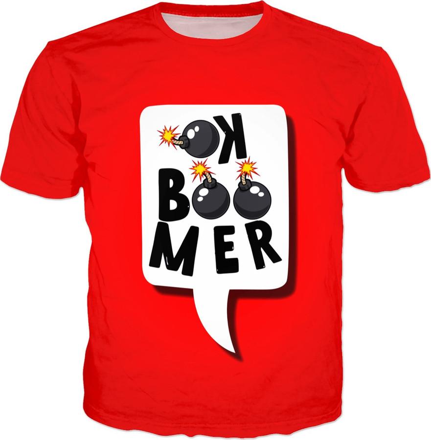 Shirt met daarop 'ok boomer'.