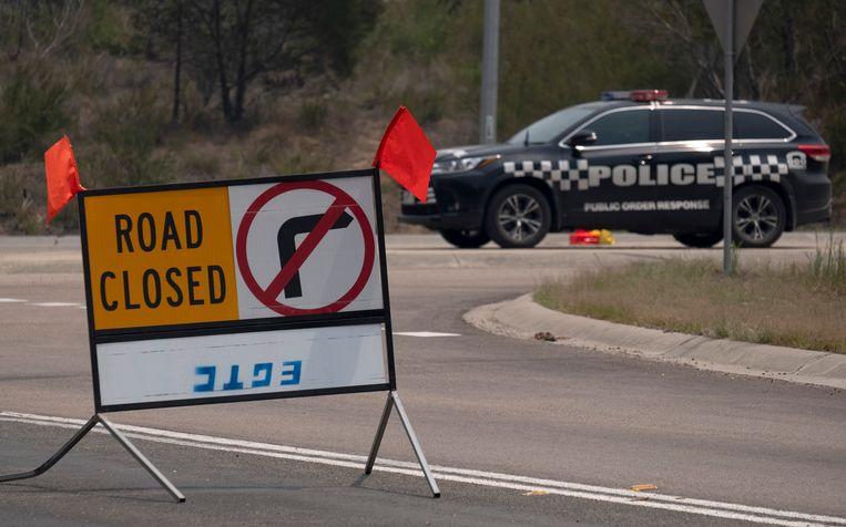 Wegblokkade in Orbost in het noordoosten van Australië.
