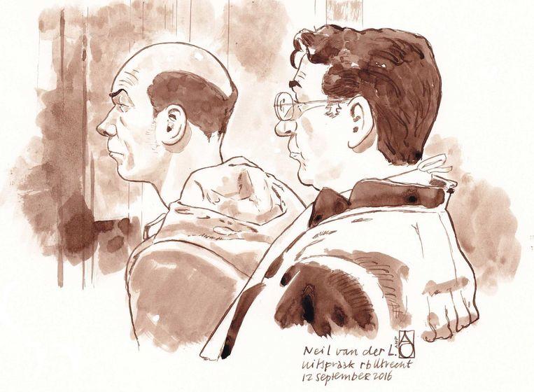 Rechtbanktekening Neil van der L. en zijn advocaat Gerard Spong bij de uitspraak van de rechtbank op 12 september. Beeld anp