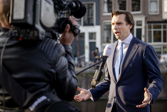 Thierry Baudet staat woensdagmiddag de pers te woord.