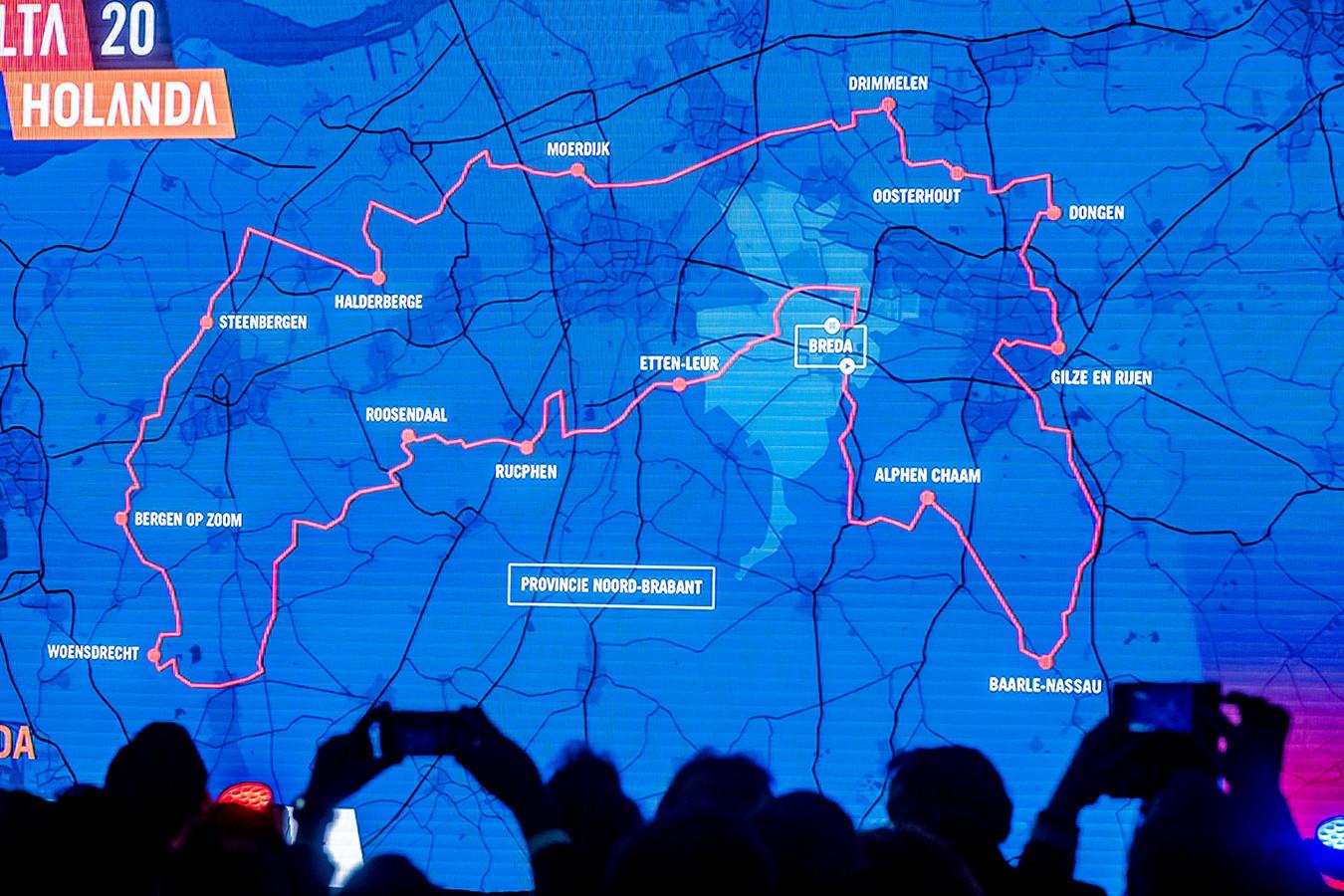 De routekaart met daarop de gemeenten waar de Ronde van Spanje doorheen komt op zondag 16 augustus.