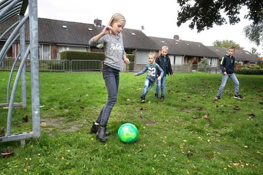 Enkele buurtkinderen in actie op het speelveldje aan de Burgemeester Brunestraat.