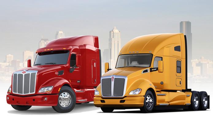De Amerikaanse truckmerken Peterbilt (l) en Kenworth waarvoor DAF motoren gaat maken.