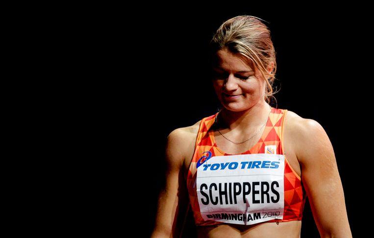 Dafne Schippers op de 60 meter in de halve finale tijdens de WK indoor atletiek in Birmingham. Beeld ANP