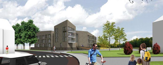 Een schets van de toekomstige bebouwing op de hoek van de Halve Maanweg in Doesburg.