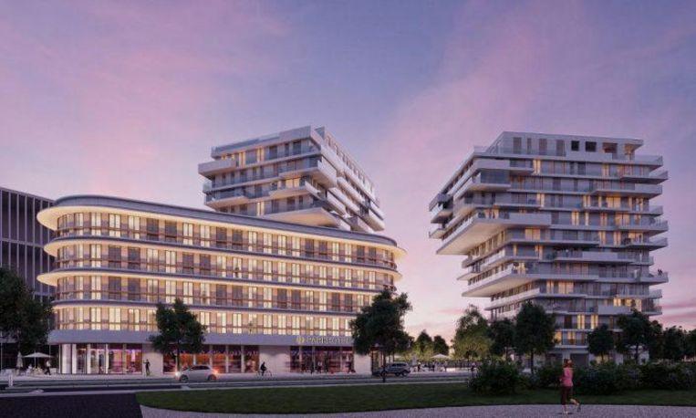 Een zicht op het viersterrenhotel (vooraan) aan de Zuiderlaan, met daarachter de twee woontorens.