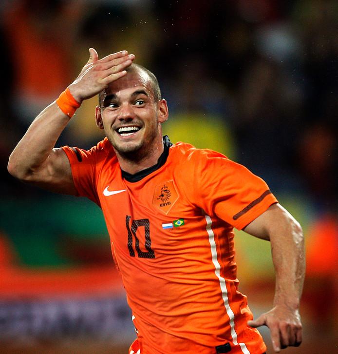 Wesley Sneijder in 2010 op het WK tegen Brazilië.