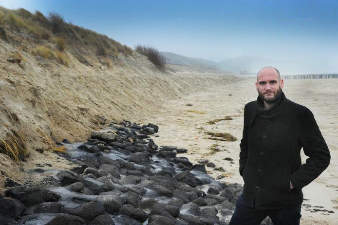 Tim Wouters op het strand