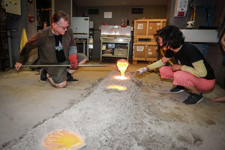 Dag van het zand Lommel maken van een glazen handafdruk