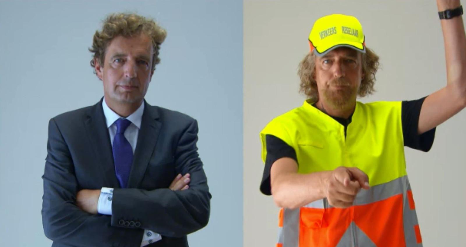 De transformatie van burgemeester René Verhulst tot verkeersregelaar.