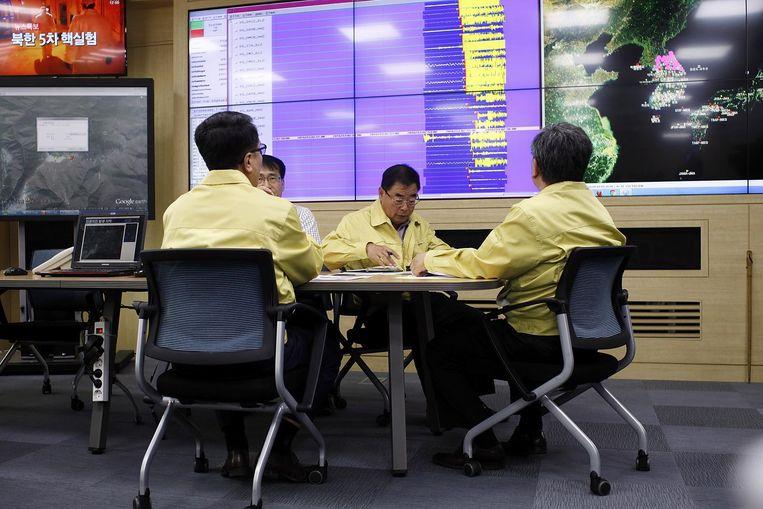 Researchers uit Zuid-Korea onderzoeken de seismologische activiteit bij hun noorderburen. Beeld getty