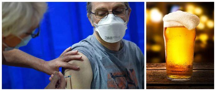 Een man krijgt het coronavaccin toegediend in de Welshe hoofdstad Cardiff.