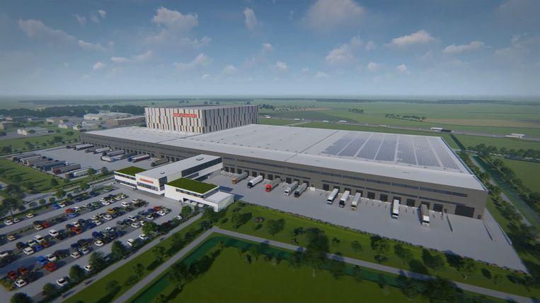 Een toekomstbeeld van het grootste chocolademagazijn ter wereld dat tegen de zomer van 2021 de deuren zal openen in Lokeren.