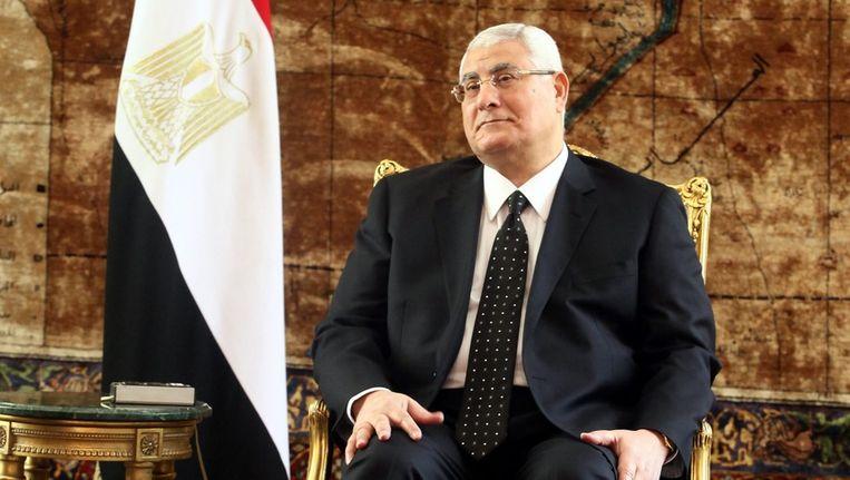 De Egyptische interim-president Adli Mansour. Beeld epa