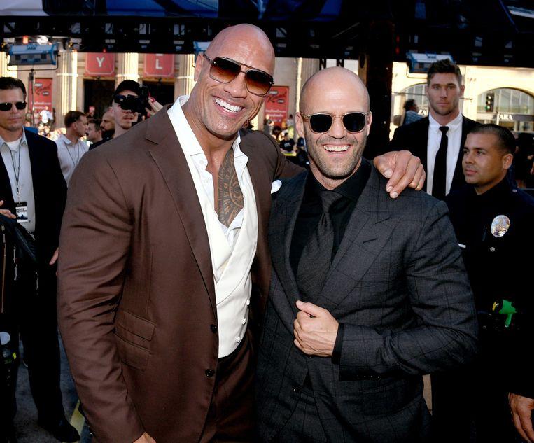 Dwayne Johnson (L) en Jason Statham op de première van 'Fast & Furious Presents: Hobbs & Shaw'