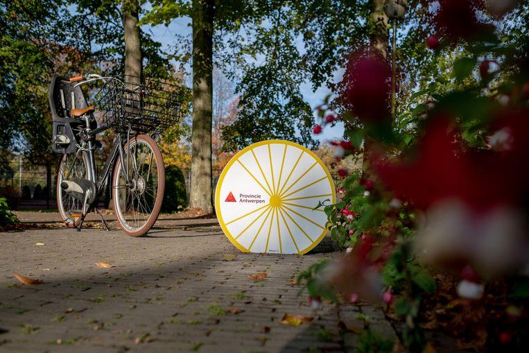 Publieke fietspomp aan het onthaalgebouw van het Provinciaal Groendomein Vrijbroekpark te Mechelen.