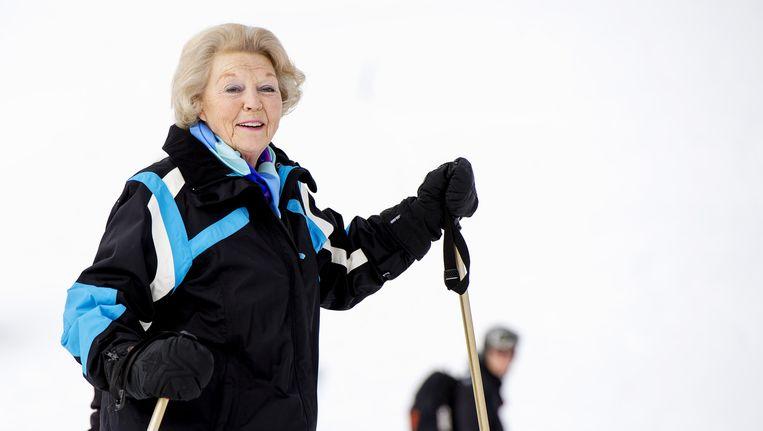 Prinses Beatrix vorig jaar tijdens de jaarlijkse fotosessie in het Oostenrijkse Lech. Beeld anp