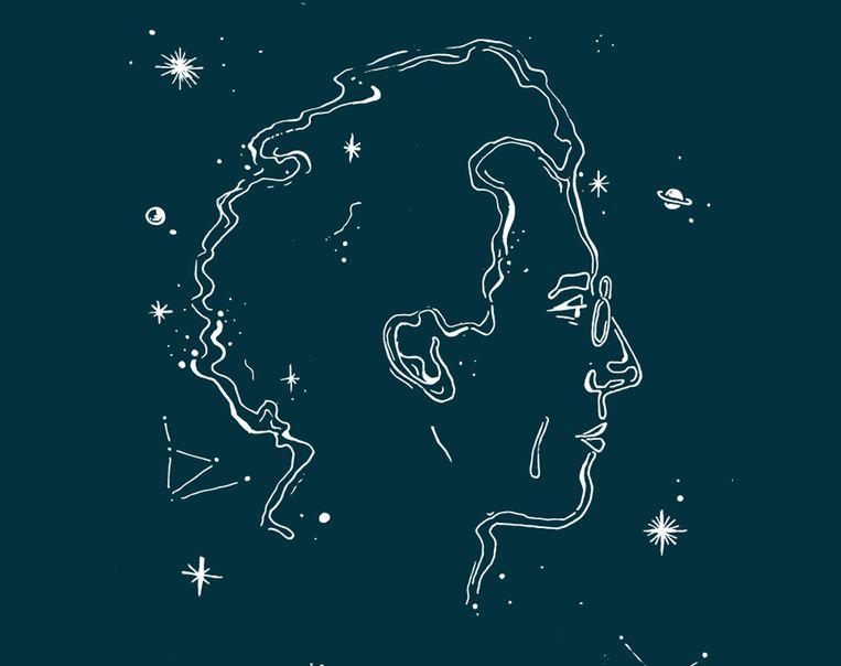 Vormgeving van het Mahler Festival waarin het zijprofiel van Gustav Mahler te zien is.  Beeld VBAT / Studio Vondst