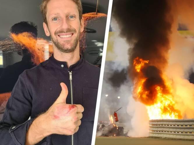 Het verband is weg: Grosjean toont schade aan hand na zware crash in Bahrein