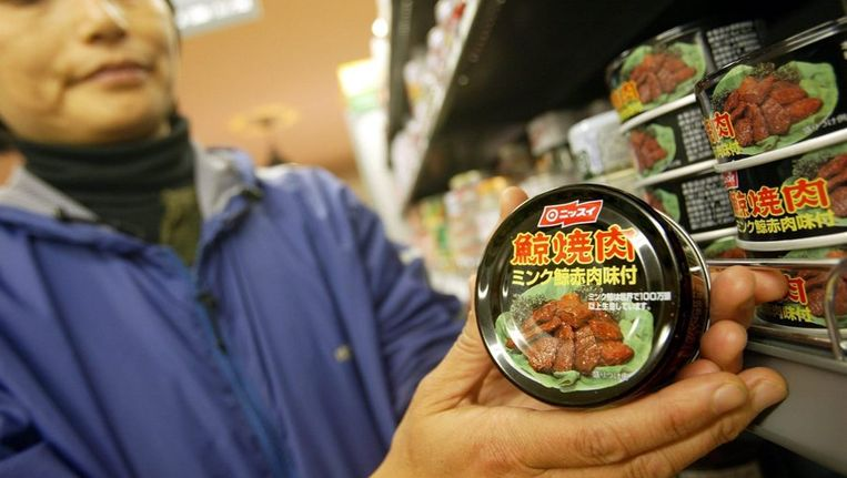 Walvisvlees in Japanse supermarkt Beeld anp