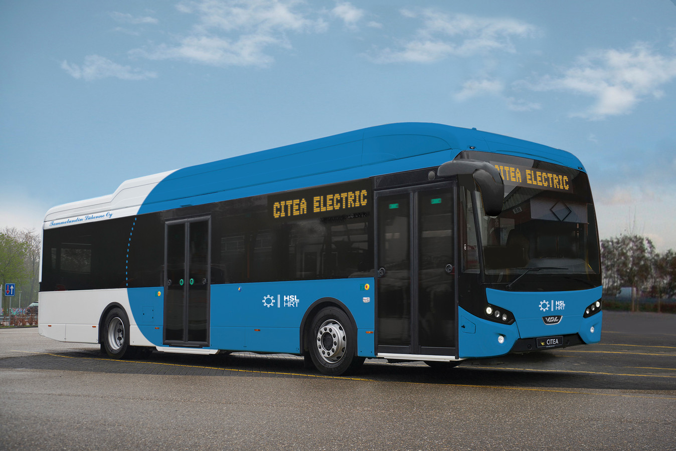 Beeld van de VDL Citea SLE Electric die gaat rijden in Helsinki.