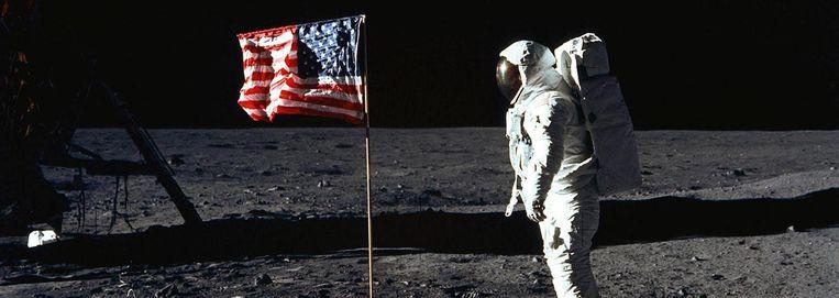 De Amerikaanse astronaut Edwin Aldrin in 1969 op de maan, gefotografeerd door Neil Armstrong. Beeld afp