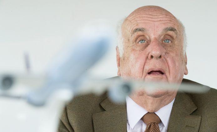 Etienne Davignon, lors d'une conférence de presse de Brussels Airlines, en 2018