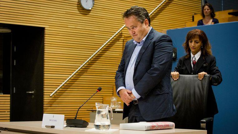 Marcel de Vries, voormalig kasbeheerder bij Vestia, voor de Parlementaire Enquetecommissie Woningcorporaties Beeld anp