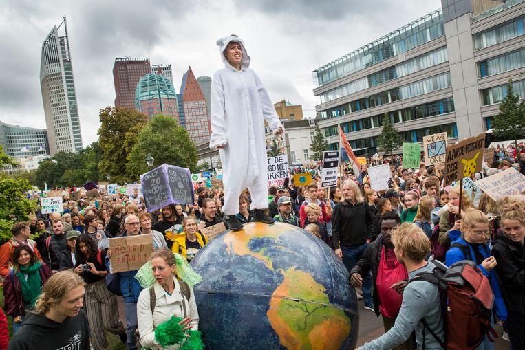 De klimaatstaking vorige week in Den Haag.  Beeld Arie Kievit