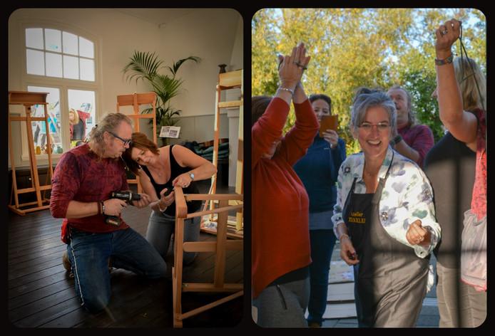 Tot blijdschap van initiatiefneemster Marieke Lobbezoo-Derks (rechts) gaat Atelier Zeeklei vrijdag voor het eerst open. Twee weken geleden hielpen vrienden met het plaatsen van de schidersezels en kleibokken.
