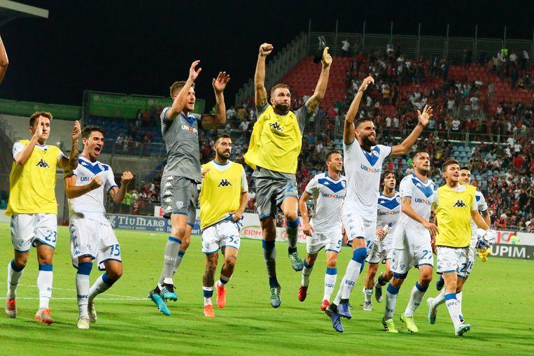 Feest bij de spelers van Brescia.