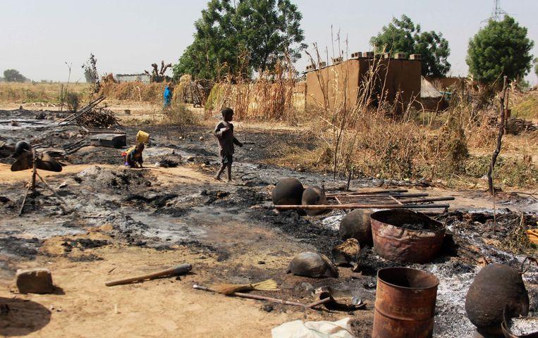 Dorpje in Maiduguri, Nigeria dat werd platgebrand door Boko Haram-strijders in december.