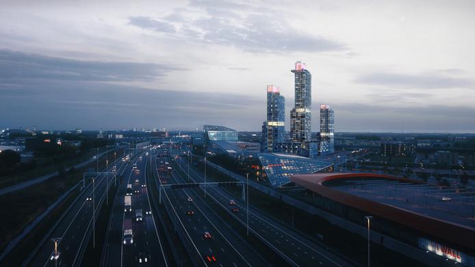Beeld van het nieuwe wooncomplex MARK langs de snelweg A2.