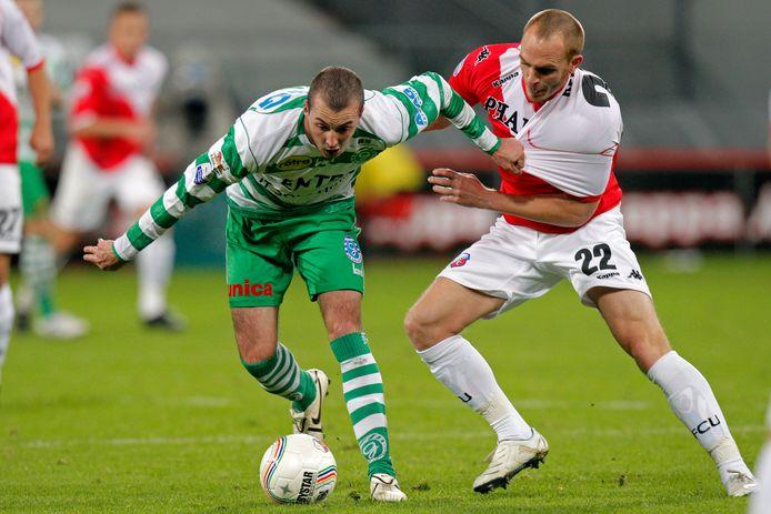Sander Keller, hier rechts, toen hij nog voor FC Utrecht speelde. Komend weekend is hij te zien bij Focus '07.