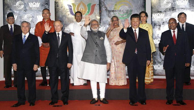 Onder anderen de leiders van de Brics-landen. Beeld epa
