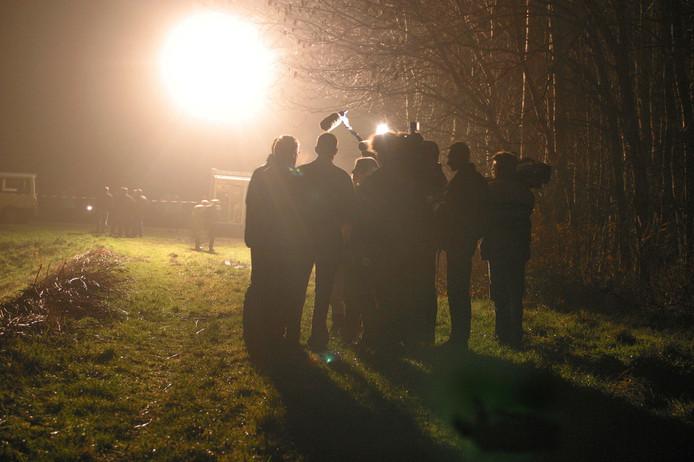 Beelden van het gerechtelijk onderzoek naar de dood van Apeldoorner Pim Overzier in 2002 bij het Abbertsbos nabij Dronten.
