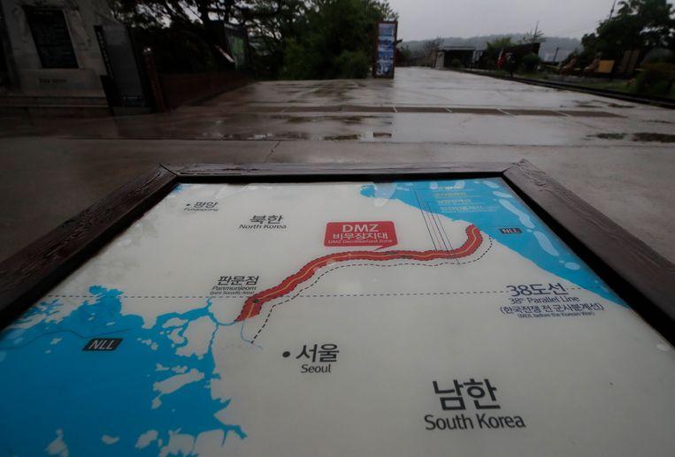 De gedemilitariseerde zone tussen Noord- en Zuid-Korea strekt zich uit over de hele grens.
