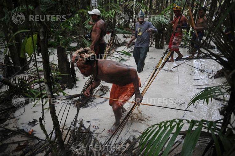 Indianen van het Munduruku-volk op zoek naar illegale goudmijnen.  Beeld Reuters
