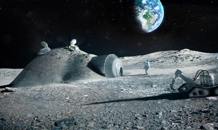 Impressie van een 3D-geprinte maanbasis die het Europese Ruimteagentschap ESA eerder deze maand uitbracht.