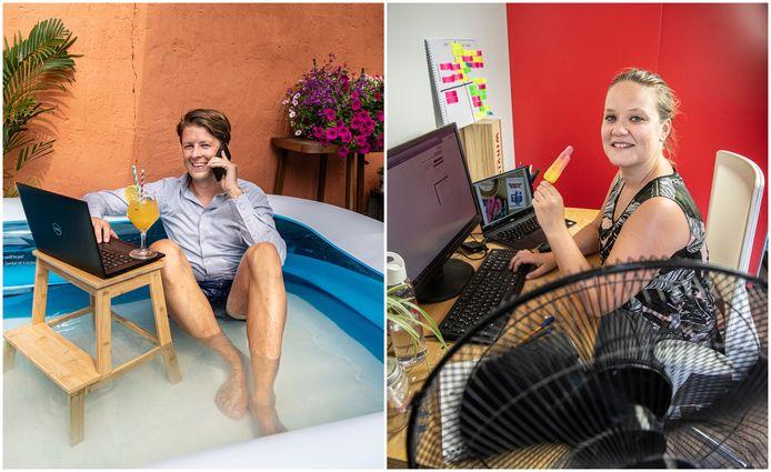 Leon Harmsen van Afas en Wietske Aalders van Winvision hebben met hulp van hun werkgevers hittemaatregelen kunnen treffen voor het thuiswerken.