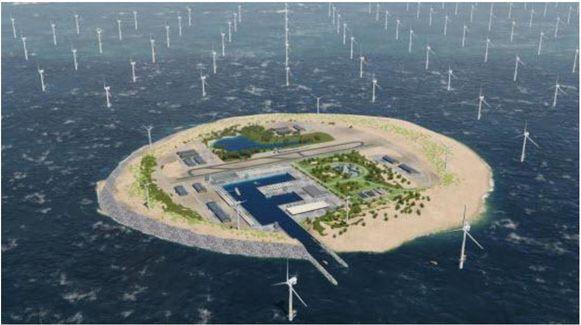 Ontwerp van het kunstmatige eiland in de Noordzee.