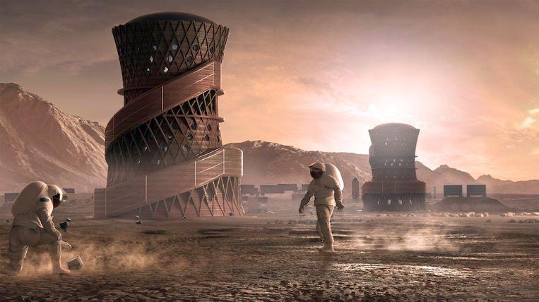 Zo zouden de gebouwen op Mars eruit kunnen zien.