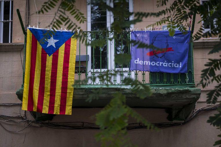 Catalaanse onafhankelijksvlag in Barcelona.  Beeld ANP